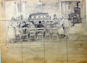"""Ray Kinsman-Waters (1887-1962) """"Thanksgiving Dinner"""" c. 1930s Drawing 9 x 11 3/4 inches  P.O.R."""