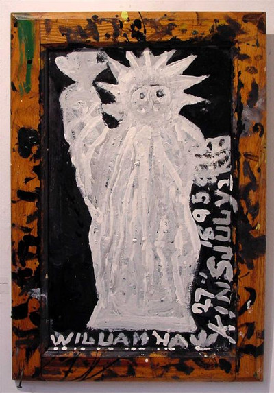 William Hawkins 'Statue of Liberty' (c.1980-82) Enamel on board. 21 1/2 x 14 1/2 inches