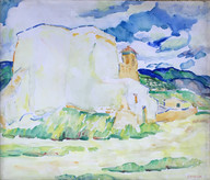 """""""Ranchos de Taos, Adobe House in the Distance"""", c. 1919-20  Watercolor 18 x 21 inches Estate stamped lower left: A. Schille P.O.R."""