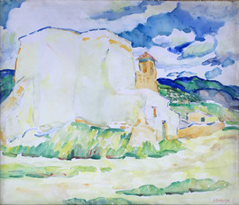 Alice Schille (American, 1869-1955) 'Ranchos de Taos, Adobe House in the Distance', c. 1919-20  Watercolor 18 x 21 inches Estate stamped lower left: A. Schille  P.O.R.
