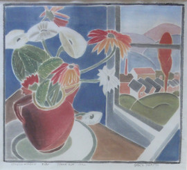"""Studio Window, 1932 Grace Martin Taylor Woodblock print 12 x 13.5 inches Titled, numbered, dated , and signed """"Grace Martin"""" along bottom.  $6,000.00"""