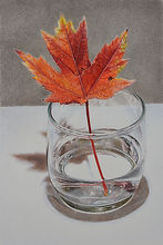 Glass with November Leaf - 8 3_4x5 7_8_