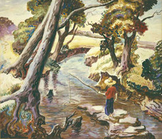 """Thomas Benton Hart """"Boy Fishing"""", 1930s Watercolor on paper 16 1/4 x 21 inches Signed lower right: Benton"""