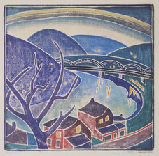 """Blanche Lazzell """"The Monongahela"""", 1926 (block cut in 1919) White line color woodcut 12 x 11 1/2 inches Signed lower left: The Monongahela Signed and dated lower right: Blanche Lazzell 1926"""
