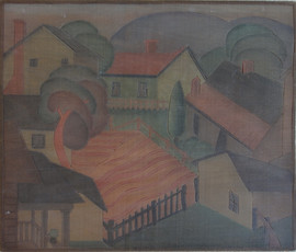 Charlestown Cottages Grace Martin Taylor Woodblock Side 2 Block cut 1932 12 x 13 11/16 inches  Side 1 of this Woodblock: Studio Window  $4,000.00