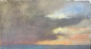 """Neil Riley """"Lido Key"""", 2018 Watercolor on paper 7 ½ x 4 inches Sold"""