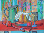 """""""Still Life, Red Table Top"""", 1955 Acrylic on board 15 x 20 inches      $3,200"""
