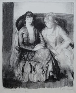 """George Bellows (American, 1882-1925) """"Emma and Marjorie on a Sofa"""", 1921 Lithograph 10 ¼ x 8 ¼ inches Annotated lower left: Bolton Brown, Imp. Signed lower right: Geo. Bellows Initialed in plate lower right: GB Edition of 44 Mason catalogue raisonne no. 102  P.O.R."""