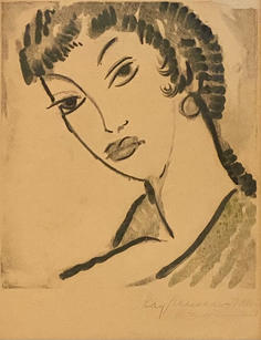 """Ray Kinsman-Waters (1887-1962) """"Woman with Braided Hair"""", 1934  Monotype on paper 11 ¼  x 10 inches Signed and dated lower right: Ray Kinsman-Waters / 1934   Sold"""