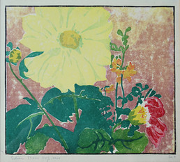 """Yellow Dahlia (Yellow Splendor)"", c. 1915 Color woodcut 7 3/4 x 9 inches P.O.R."