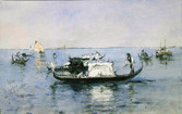 """Robert Blum """"On the Lagoon, Venice"""", c. 1880-1881 Watercolor 8 1/4 x 13 1/2 inches Signed and inscribed lower left"""