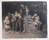 """George Wesley Bellows """"Watermelon Man"""",1906 Crayon, charcoal, pen and ink 14 x 17 inches Signed lower left: Geo. Bellows"""