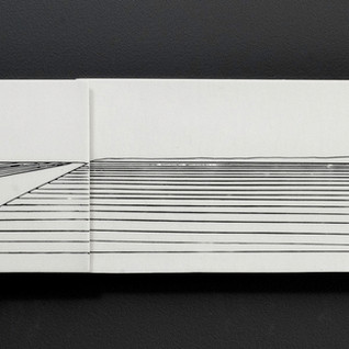 Carol Snyder (Contemporary) 'Road to the Rise', 2019  Wall piece   Porcelain tile, incised and inlaid linework  5 3/4h x 30 3/4w inches   $1,100