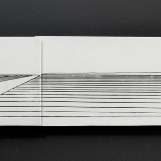 Carol Snyder (Contemporary) 'Road to the Rise', 2019  Wall piece | Porcelain tile, incised and inlaid linework  5 3/4h x 30 3/4w inches   $1,100