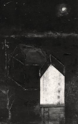 Alice Carpenter 'Landscape 20.10', 2020 Subtractive monotype w/ handcoloring. Scraffito and collage.   5 1/2 x  3 1/2 inches  $700
