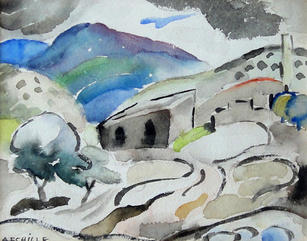 """Alice Schille (1869-1955) """"New Mexico Hills (Winding Road)"""", c. 1926  Watercolor on paper 5 x 6 ⅛ inches Signed lower right: A. Schille  P.O.R."""