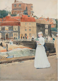 """Childe Hassam """"Bleak House, Broadstairs"""" c. 1890 Watercolor on paper 13 1/2 x 9 3/4 inches Signed lower left: Childe Hassam"""