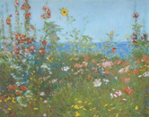 """Childe Hassam """"Poppies, Isles of Shoals"""", 1891 Pastel 9 3/4 x 12 3/4 inches"""