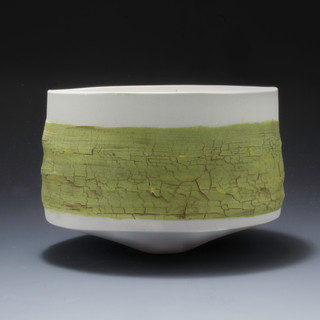 Carol Snyder (Contemporary) Wild Mustard, small, 2021  Wheelthrown, altered high fired porcelain, colored porcelain slips 3h x 4 1/4d inches  Sold