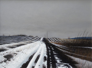 Alan Gough 'Reub Hill Road Thaw', 2017/18 Oil on panel 12 x 16 inches  $1,500