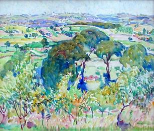 """Alice Schille (1869-1955) """"Provence"""", circa 1914 Watercolor 17 1/2 x 20 1/2 inches Estate stamped lower right: A Schille  P.O.R."""
