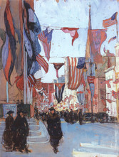 """Jane Peterson """"Flag Day"""", 1918 Gouache on paper 23 1/8 x 17 3/8 inches"""