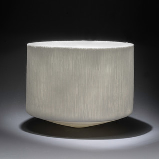 Carol Snyder (Contemporary) 'Winter Glaze', 2021  Wheel-thrown, high-fired porcelain 4 3/4h x 5 3/4d inches  $850
