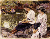 """Edward Potthast """"Reading by the Lake, Central Park"""", c. 1915 Crayon on paper 8 1/2 x 11 inches Signed lower left: E. Potthast"""