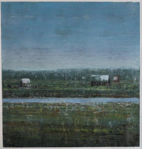 Eric Barth (Contemporary) 'Neither Here Nor There', 2020 Oil pastel and soft pastel on paper 9 x 8 3/4 inches  Sold