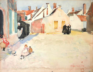"""Alice Schille (1869-1955) """"Dutch Village"""", c. 1903 Watercolor on paper 8 ½ x 11 inches Signed lower right: Alice Schille  On Hold"""