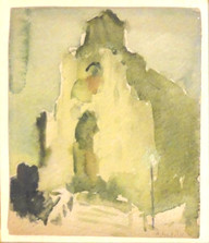 """""""Cathedral at Dusk"""", c. 1910 Watercolor on paper 6 ¼ x 5 ½ inches Signed lower right: A. Schille P.O.R."""