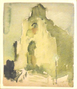 Alice Schille (American, 1869-1955) 'Cathedral at Dusk', c. 1910 Watercolor on paper 6 ¼ x 5 ½ inches Signed lower right: A. Schille  P.O.R.