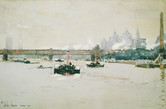 """Childe Hassam """"View of London"""", 1889 Watercolor 7 1/2 x 11 inches Signed, dated and inscribed: Childe Hassam Long 1889"""