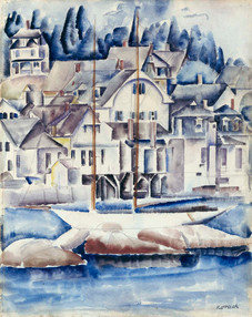 """William Zorach """"Stonington Harbor, Maine"""", c. 1920 Watercolor on paper Signed lower right: Zorach"""