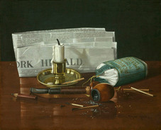 """Claude Raguet Hirst """"New York Herald (Still Life)"""", 1891 Watercolor on paper 10 x 12 1/4 inches Signed lower right: Claude Raguet Hirst, N.Y."""
