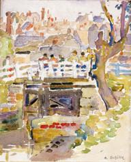 """The White Bridge"", 1914  Watercolor 5 x 6 inches Signed lower right: A. Schille P.O.R."