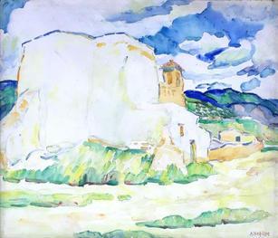 "Alice Schille (1869-1955) ""Ranchos de Taos, Adobe House in the Distance"", circa 1919-20 Watercolor 18 x 21 inches Estate stamped lower left: A. Schille  P.O.R."