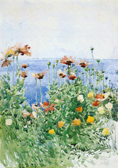 """Childe Hassam """"Poppies, Isles of Shoals"""", 1891 Watercolor 19 7/8 x 14 inches"""