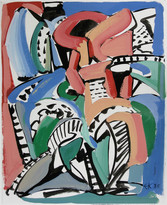 Edmund Kuehn ( Historic, 1916-2011) 'Tile Reds and Blues', 1985 Acrylic  10 x 8 inches Initialed and dated lower right: EK 85      $1,750