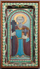 John Perates (American, 1895-1970) St. Andrew, c. 1938 Enamel on wood relief carving 49 1/2 x 28 inches Acquired by Columbus Museum of Art