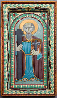"""John Perates (American, 1895-1970) """"St. Andrew"""", c. 1938 Enamel on wood relief carving 49 1/2 x 28 inches Acquired by Columbus Museum of Art"""