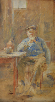 """""""Man with a Pipe, Holland"""", c. 1903-1905  Watercolor 24 x 12 inches Signed lower left: A. Schille  P.O.R."""