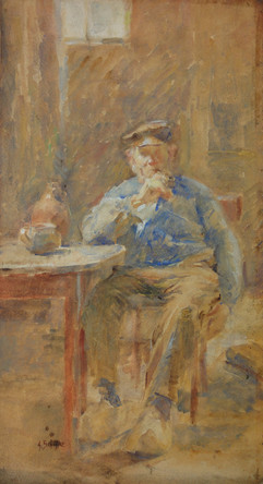 Alice Schille (American, 1869-1955) 'Man with a Pipe, Holland', c. 1903-1905  Watercolor 24 x 12 inches Signed lower left: A. Schille  P.O.R.