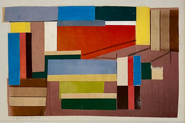 Edmund Kuehn (Historic, 1916-2011) 'Dominant Red', 1977 Collage 4 3/4 x 7 3/4 inches     $2,000