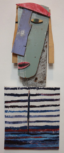 Tamara Jaeger 'Jean in Picasso Shirt', 1999 Mixed media assemblage 24 x 9 x 1 inches  $1,250