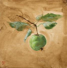 """Mary Jane Ward 'Lumpy Green Apple' Oil on linen. 6"""" x 6"""" 2019  $570"""