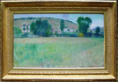 """Theodore Wendel """"Farm Scene, Giverny"""", 1886 Oil on canvas 13 x 22 inches Signed and dated lower right: Theo. Wendel Giverny 1886"""