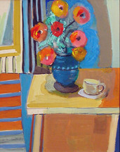 """""""Zinnias"""", 1957 Acrylic on board 16 x 12 inches  Sold"""
