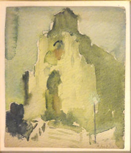 """Alice Schille (1869-1955) """"Cathedral at Dusk"""", c. 1910 Watercolor on paper 6 ¼ x 5 ½ inches Signed lower right: A. Schille  P.O.R."""