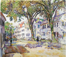 """Alice Schille """"White Houses"""", c. 1916-18 Watercolor 17 1/4 x 20 inches Signed lower right: A. Schille"""